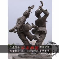铸铜陕北民俗人物跳舞打腰鼓扭秧歌情景雕塑户外广场公园装饰摆件