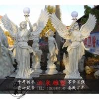 玻璃钢彩绘光明女神翅膀天使雕像西方人物路灯雕塑公园林装饰摆件