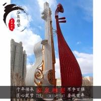 不锈钢抽象乐器大提琴琵琶雕塑音乐主题户外公园广场景观装饰摆件