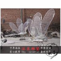 不锈钢铁艺编织蜻蜓蝴蝶创意仿真昆虫雕塑户外广场公园美观装饰品