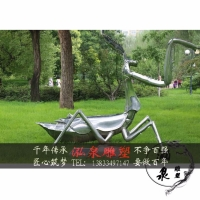 不锈钢镜面创意仿真昆虫螳螂蚂蚱雕塑户外公园草坪景观装饰品摆件