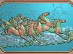 FDDW007-浮雕图动物雕刻图八骏马精雕图库下载