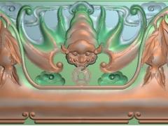FDDW011-浮雕图动物雕刻图大奔蝙蝠精雕图库下载