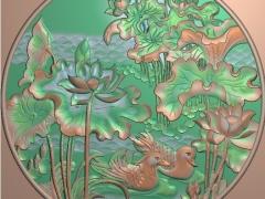 FDDW030-浮雕图动物雕刻图鸳鸯精雕图库下载