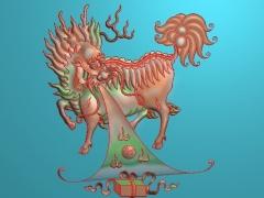FDDW033-浮雕图动物雕刻图麒麟精雕图库下载