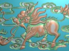 FDDW035-浮雕图动物雕刻图麒麟精雕图库下载