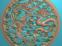 FDDW038-浮雕图动物雕刻图龙凤呈祥精雕图库下载