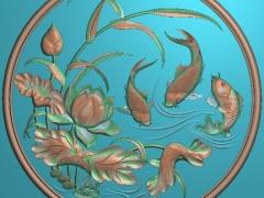 FDZW13-荷花鲤鱼精雕图下载