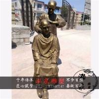 铸铜黄铜人物雕塑剃头师傅理发民俗景观雕像商业街理发店迎宾装饰