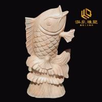 石雕喷水鱼晚霞红石头鲤鱼吐水喷泉雕刻户外庭院园林招财流水雕塑