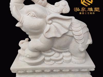 石雕大象一对汉白玉晚霞红别墅小象