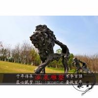 玻璃钢仿铜创意抽象动物狮子豹子雕塑户外公园广场草坪景观装饰品