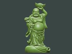 MLPS005-如意元宝弥勒菩萨精品圆雕图如意元宝弥勒菩萨雕刻图如意元宝弥勒菩萨精雕图下载