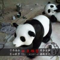 玻璃钢彩绘创意仿真国宝大熊猫雕塑户外公园草坪广场景观装饰摆件
