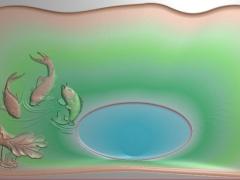 CP005-三鱼茶盘雕刻图案三鱼茶盘灰度图三鱼茶盘浮雕图三鱼茶盘精雕图