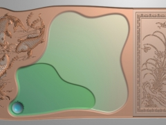CP004-三鱼茶盘雕刻图案三鱼茶盘灰度图三鱼茶盘浮雕图三鱼茶盘精雕图