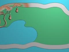 CP009-二葫茶盘雕刻图案二葫茶盘灰度图二葫茶盘浮雕图二葫茶盘精雕图