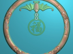 CP014-五福茶盘雕刻图案五福茶盘灰度图五福茶盘浮雕图五福茶盘精雕图