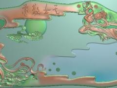 CP015-仙女散花茶盘雕刻图案仙女散花茶盘灰度图仙女散花茶盘浮雕图仙女散花茶盘精雕图