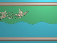 CP017-仙鹤茶盘雕刻图案仙鹤茶盘灰度图仙鹤茶盘浮雕图仙鹤茶盘精雕图