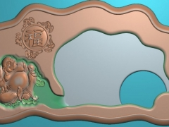 CP019-弥勒佛五福字茶盘雕刻图案弥勒佛五福字茶盘灰度图弥勒佛五福字茶盘浮雕图弥勒佛五福字茶盘精雕图