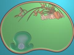 CP023-兰花茶盘雕刻图案兰花茶盘灰度图兰花茶盘浮雕图兰花茶盘精雕图
