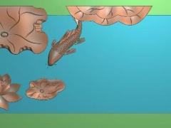 CP026-单鱼荷花茶盘雕刻图案单鱼荷花茶盘灰度图单鱼荷花茶盘浮雕图单鱼荷花茶盘精雕图
