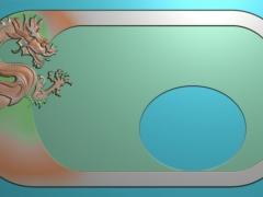 CP029-单龙茶盘雕刻图案单龙茶盘灰度图单龙茶盘浮雕图单龙茶盘精雕图