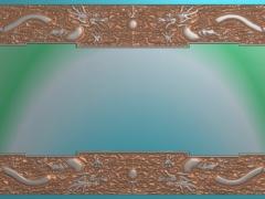 CP035-双草龙茶盘雕刻图案双草龙茶盘灰度图双草龙茶盘浮雕图双草龙茶盘精雕图