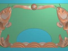 CP037-双鱼茶盘雕刻图案双鱼茶盘灰度图双鱼茶盘浮雕图双鱼茶盘精雕图