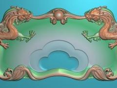 CP039-双龙戏珠茶盘雕刻图案双龙戏珠茶盘灰度图双龙戏珠茶盘浮雕图双龙戏珠茶盘精雕图