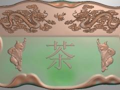 CP040-双龙童子茶盘雕刻图案双龙童子茶盘灰度图双龙童子茶盘浮雕图双龙童子茶盘精雕图