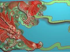 CP041-双龙茶盘雕刻图案双龙茶盘灰度图双龙茶盘浮雕图双龙茶盘精雕图
