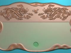 CP044-双龙茶盘雕刻图案双龙茶盘灰度图双龙茶盘浮雕图双龙茶盘精雕图