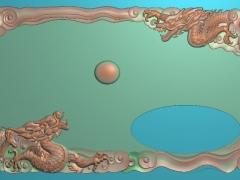 CP045-双龙茶盘雕刻图案双龙茶盘灰度图双龙茶盘浮雕图双龙茶盘精雕图