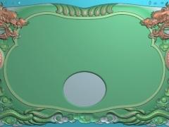 CP046-双龙茶盘雕刻图案双龙茶盘灰度图双龙茶盘浮雕图双龙茶盘精雕图