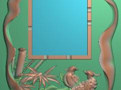 CP051-喜鹊茶盘雕刻图案喜鹊茶盘灰度图喜鹊茶盘浮雕图喜鹊茶盘精雕图