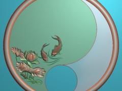CP056-圆鱼茶盘雕刻图案圆鱼茶盘灰度图圆鱼茶盘浮雕图圆鱼茶盘精雕图