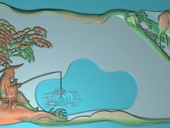 CP062姜太公钓鱼茶盘雕刻图案姜太公钓鱼茶盘灰度图姜太公钓鱼茶盘浮雕图姜太公钓鱼茶盘精雕图下载