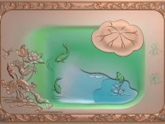 CP126洋花框鲤鱼茶缘茶盘雕刻图案洋花框鲤鱼茶缘茶盘灰度图洋花框鲤鱼茶缘茶盘浮雕图洋花框鲤鱼茶缘茶盘精雕图下载