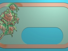 CP134牡丹茶盘雕刻图案牡丹茶盘灰度图牡丹茶盘浮雕图牡丹茶盘精雕图下载