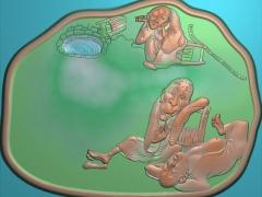 CP157精品老人茶盘雕刻图案精品老人茶盘灰度图精品老人茶盘浮雕图精品老人茶盘精雕图下载