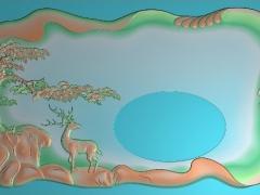CP173山水小鹿造型茶盘雕刻图案山水小鹿造型茶盘灰度图山水小鹿造型茶盘浮雕图山水小鹿造型茶盘精雕图下载
