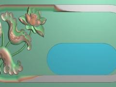 CP211荷花茶盘雕刻图案荷花茶盘灰度图荷花茶盘浮雕图荷花茶盘精雕图下载