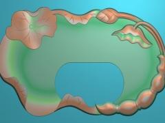 CP215荷花茶盘雕刻图案荷花茶盘灰度图荷花茶盘浮雕图荷花茶盘精雕图下载