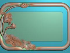 CP216荷花茶盘雕刻图案荷花茶盘灰度图荷花茶盘浮雕图荷花茶盘精雕图下载