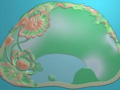CP221荷花茶盘雕刻图案荷花茶盘灰度图荷花茶盘浮雕图荷花茶盘精雕图下载