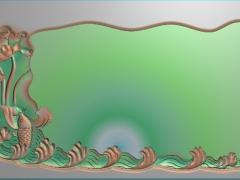 CP229荷花鱼戏莲间茶盘雕刻图案荷花鱼戏莲间茶盘灰度图荷花鱼戏莲间茶盘浮雕图荷花鱼戏莲间茶盘精雕图下载