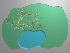 CP231荷花鸳鸯茶盘雕刻图案荷花鸳鸯茶盘灰度图荷花鸳鸯茶盘浮雕图荷花鸳鸯茶盘精雕图下载