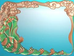 CP234荷鱼茶盘雕刻图案荷鱼茶盘灰度图荷鱼茶盘浮雕图荷鱼茶盘精雕图下载